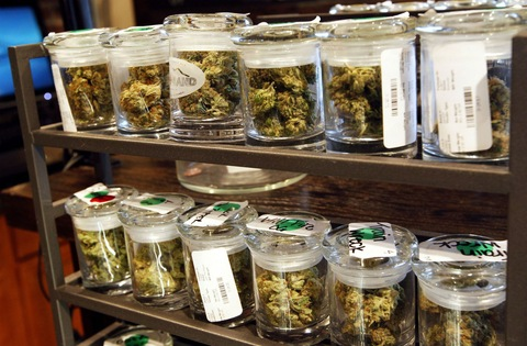 Several varieties of marijuana buds are displayed for sale at a medical marijuana center in Denver. Photo by Rick Wilking/REUTERS.