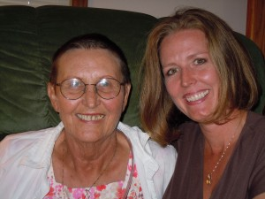 Me & Mom. Mom lost her hair to chemo. It is growing back in this picture. On this day, I had 12.5 inches cut from my hair to donate in her honor. She died in 2010. Cancer Sucks!